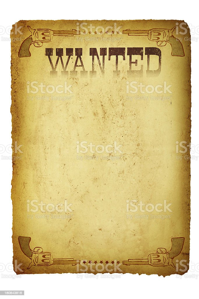Vintage Wanted Poster Wild West stock photo