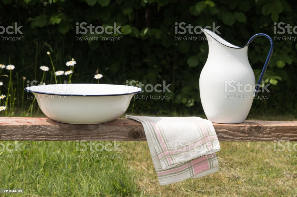 Vintage wash equipment in a garden stock photo