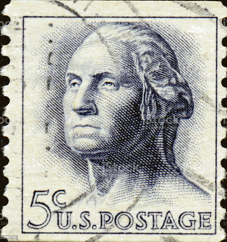 Vintage Washington Five cent Stamp royalty-free stock photo