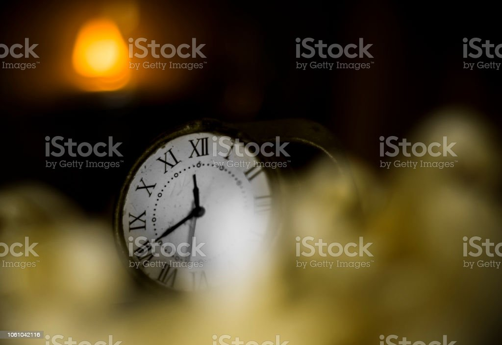 Vintage Watch with Old Lantern on wooden box Close stock photo