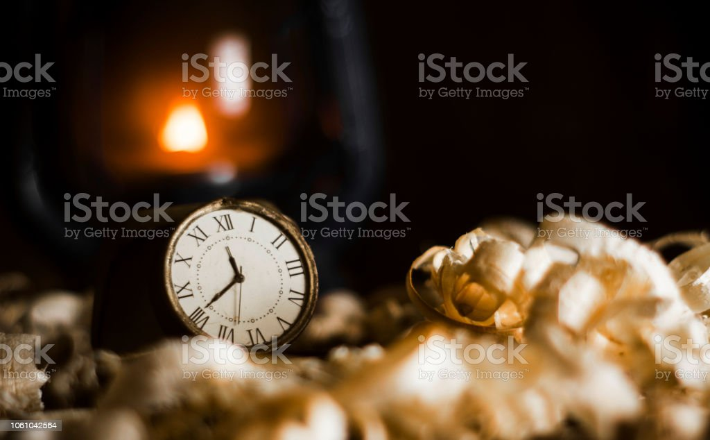 Vintage Watch with Old Lantern on wooden box stock photo
