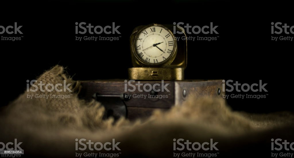 Vintage Watch with Old Wood box on burlap stock photo