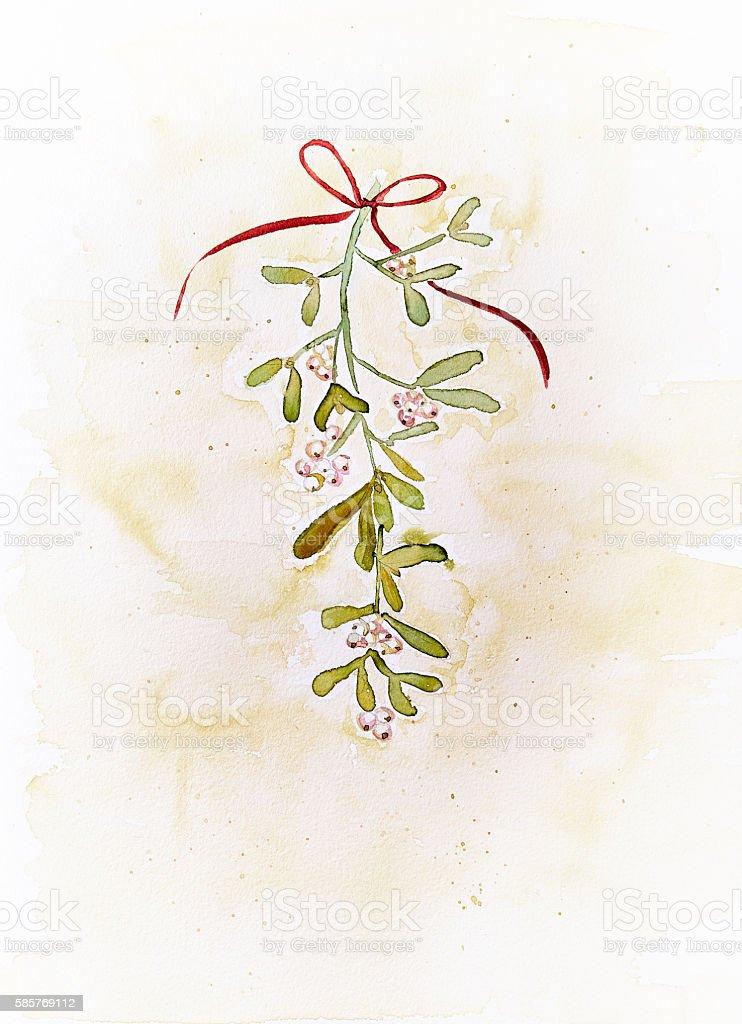 Vintage Watercolor Mistletoe (hand drawn) stock photo