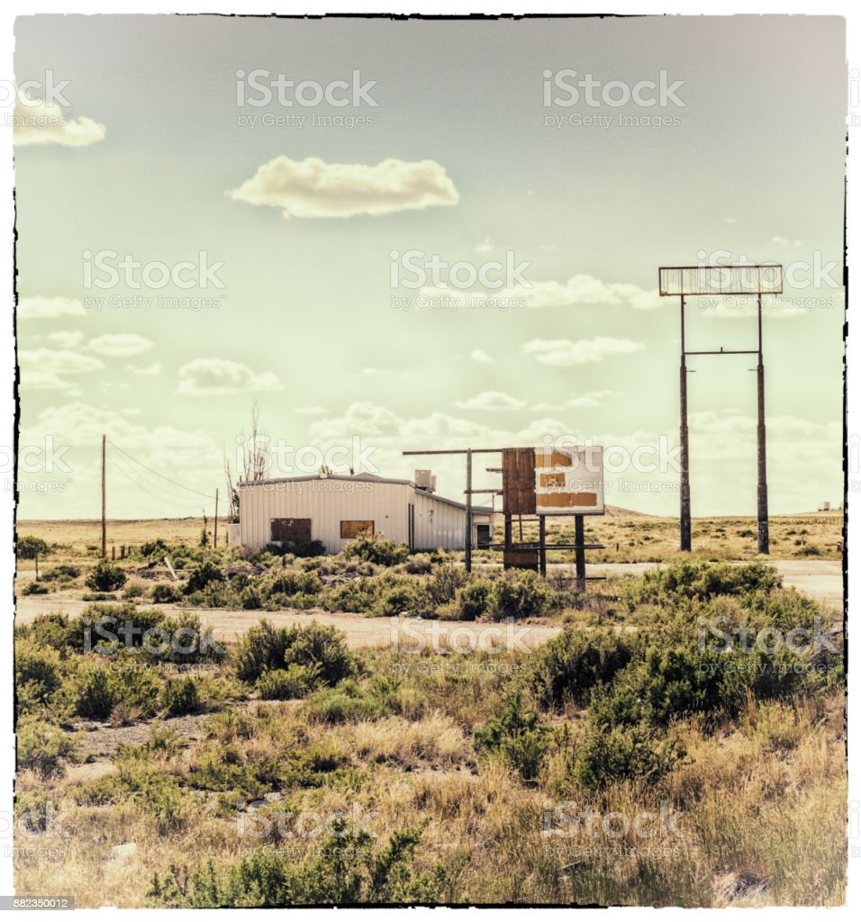 Vintage Weathered Abandoned Rural Highway Convenience Store Gas Station stock photo