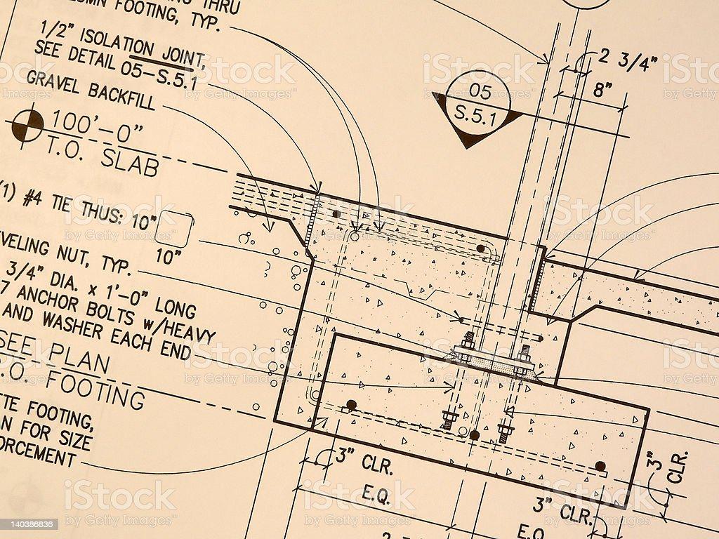Vintage Weathered Blueprint royalty-free stock photo
