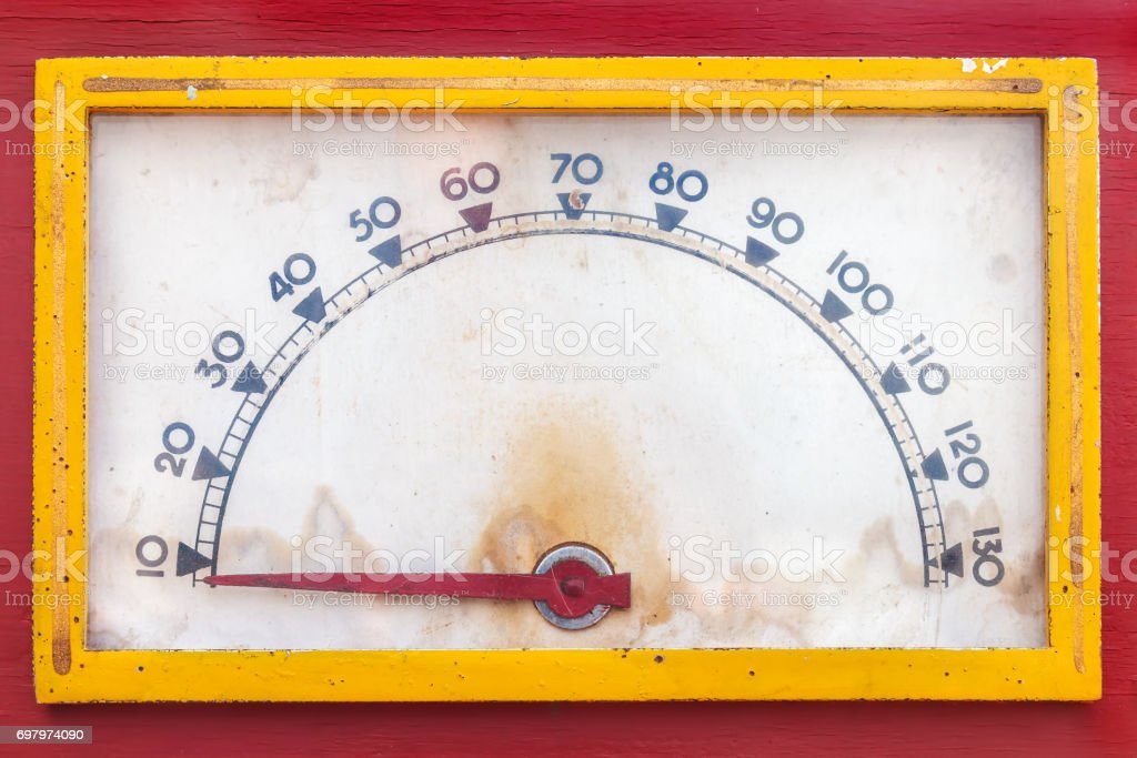Vintage weathered meter with red needle stock photo
