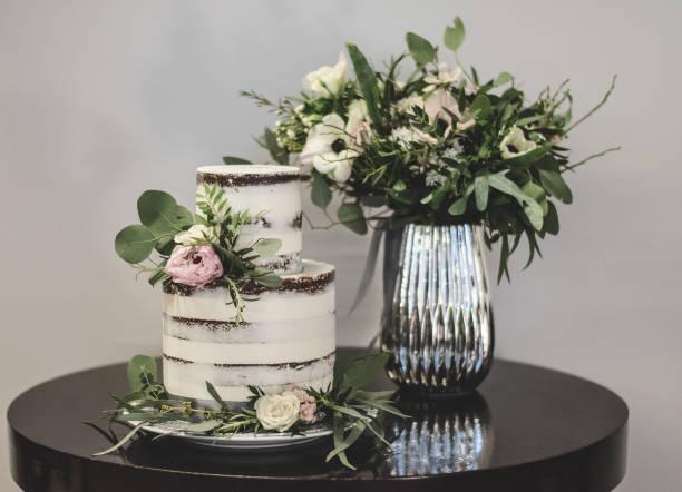 Vintage wedding cake stock photo