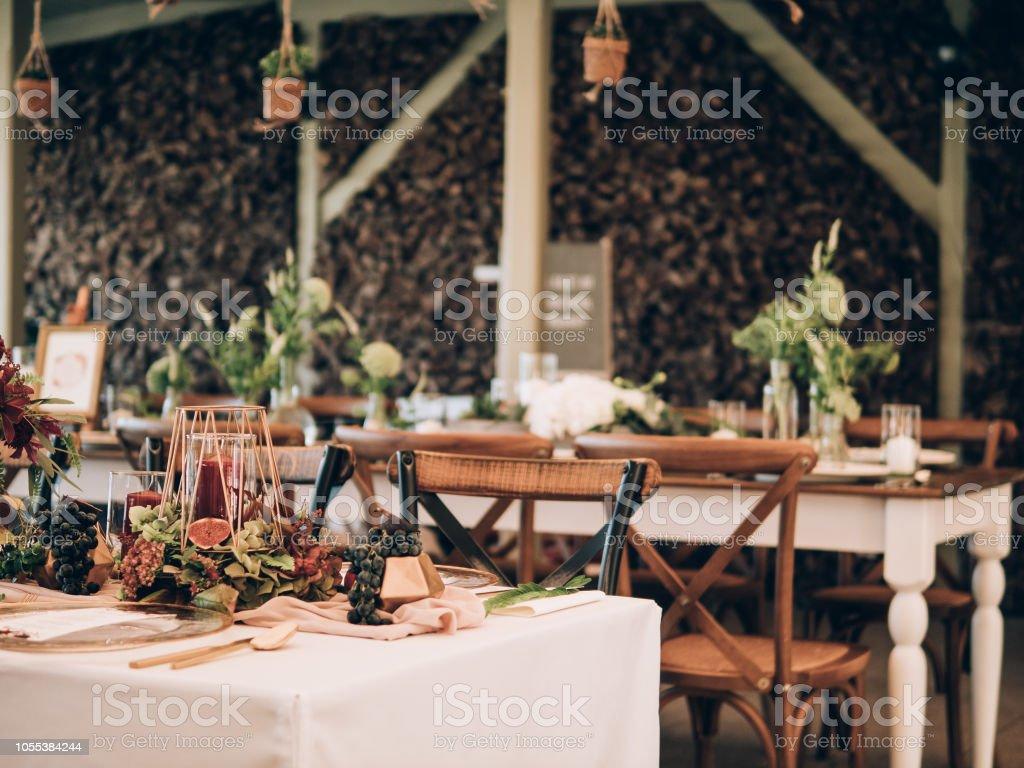 Vintage wedding decor. Beautiful event venue. stock photo
