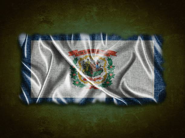 Vintage West Virginia flag. Illustration with a vintage West Virginia flag on green background. west virginia us state stock pictures, royalty-free photos & images
