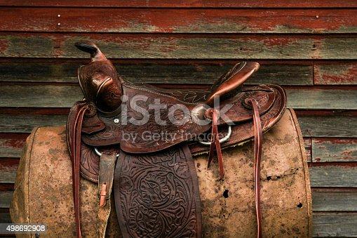 CLose up photo of vintage western leather saddle.
