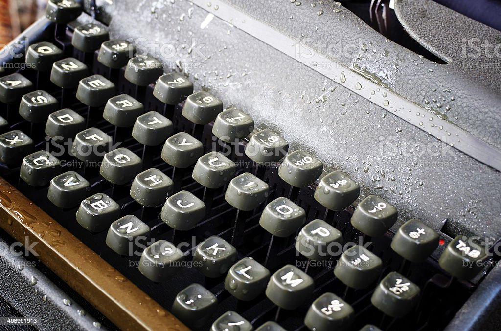 Vintage wet Manual Typewriter. Color Image royalty-free stock photo