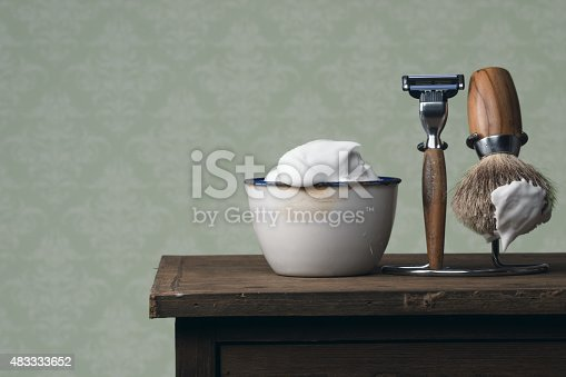 istock vintage wet Shaving Tools on a wooden Table 483333652