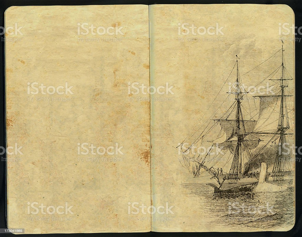 Vintage whale hunt Sketch Pad royalty-free stock photo