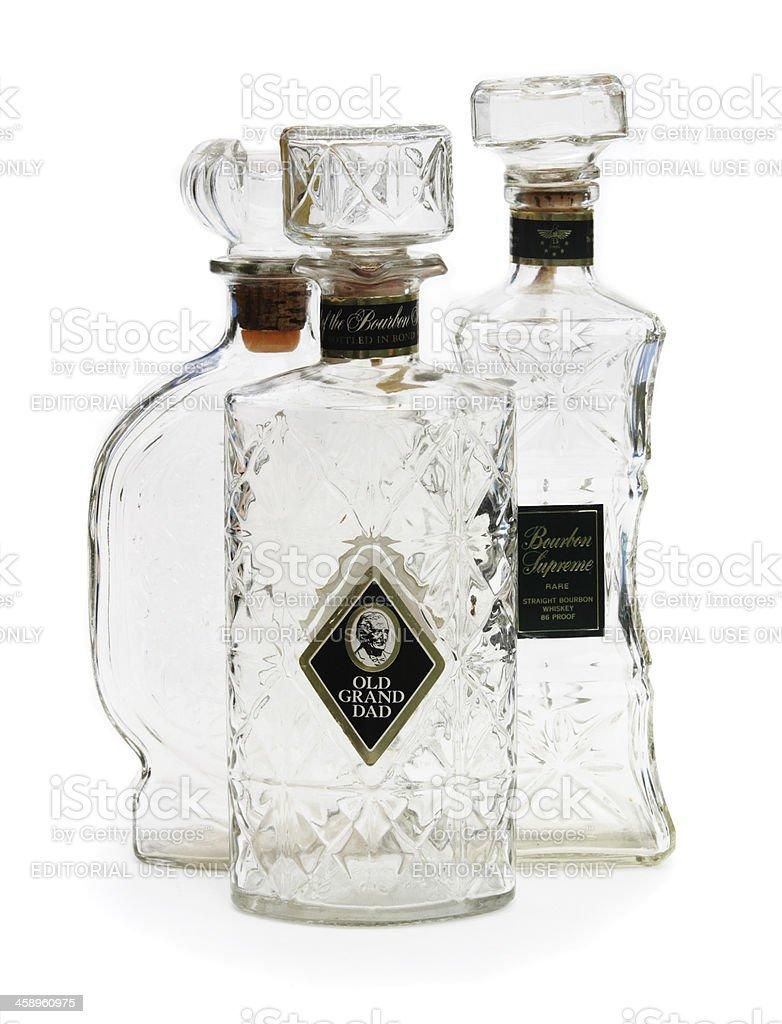Vintage whiskey bottles stock photo