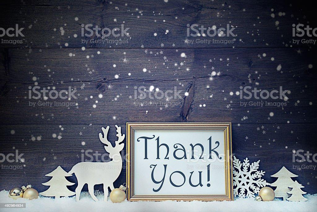 Vintage Weiß und Golden Christmas Card, Schneeflocken, vielen Dank – Foto