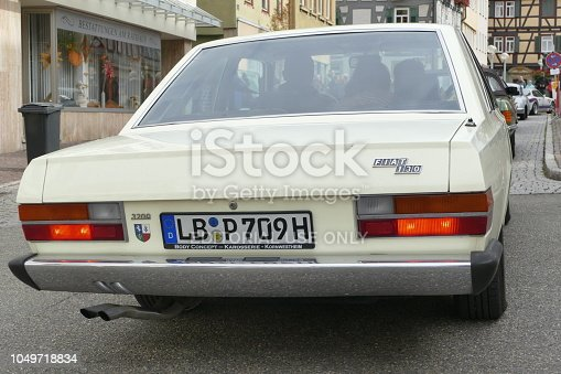 Marbach, Germany - October, 3 - 2018: Oldtimer Rallye 3. Tobias Mayer Classic. White Fiat 130 at the starting line in the Marktstraße.