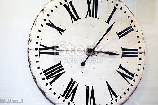 671883446 istock photo Vintage white ornamental clock face with roman numbers 1089527758
