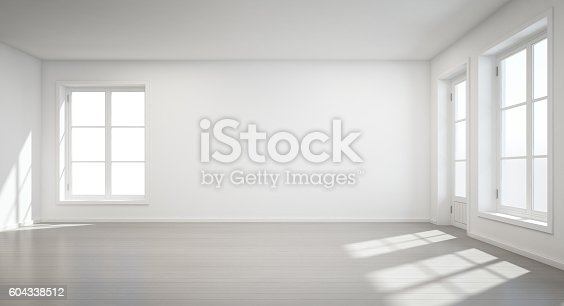 istock Vintage white room with door and window in new home 604338512