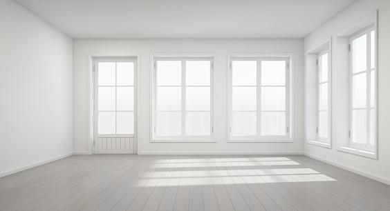 Vintage White Room With Door And Window In New Home Stockfoto Und Mehr Bilder Von Architektur Istock