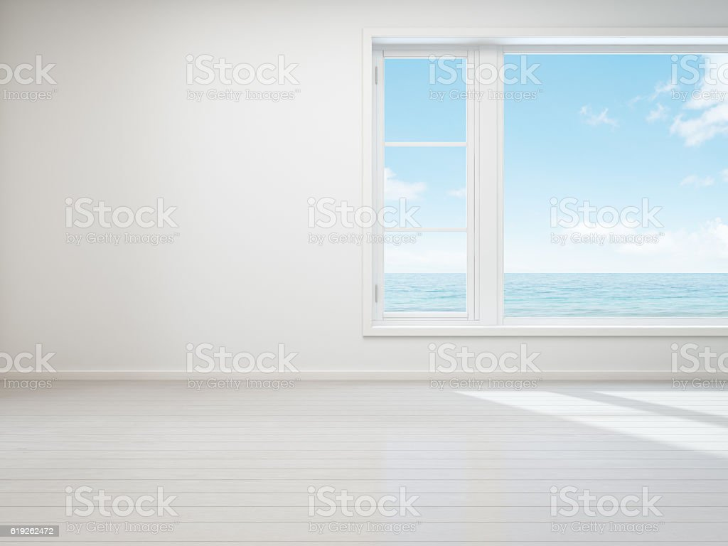 Vintage white room with  window in new home, Beach house stock photo