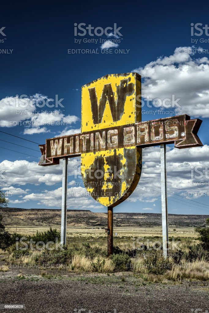 Vintage Whiting Bros. sign in New Mexico stock photo