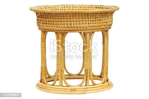 Vintage wicker basket isolated on white background with clipping path