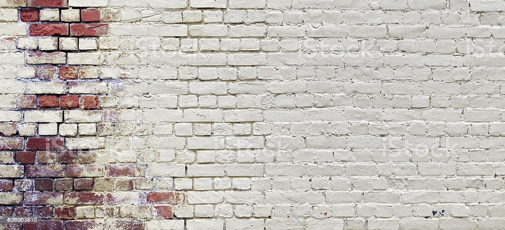 Vintage Wide Old Red White Brick Wall Texture Background stock photo