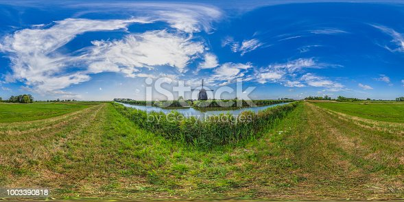 360 degrees spherical panoramic shot of the old antique windmill against a cloudy sky; South Holland