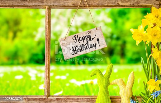 istock Vintage Window Frame, Sign, Calligraphy Happy Birthday, Grass Meadow 1207302074