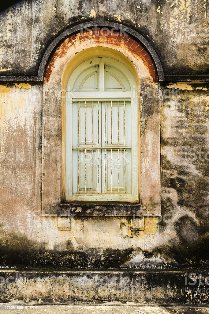 Vintage windows on old brick wall royalty-free stock photo