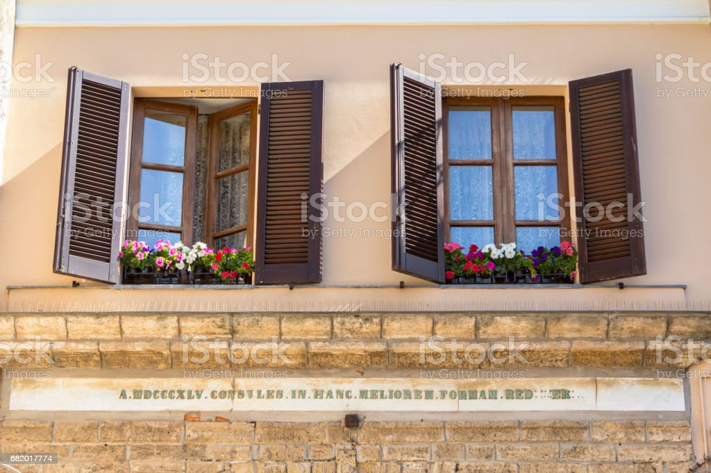 Vintage Windows With Open Wooden Shutters Stock Photo Download Image Now Istock