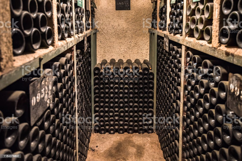 Vintage wine bottles in a cellar