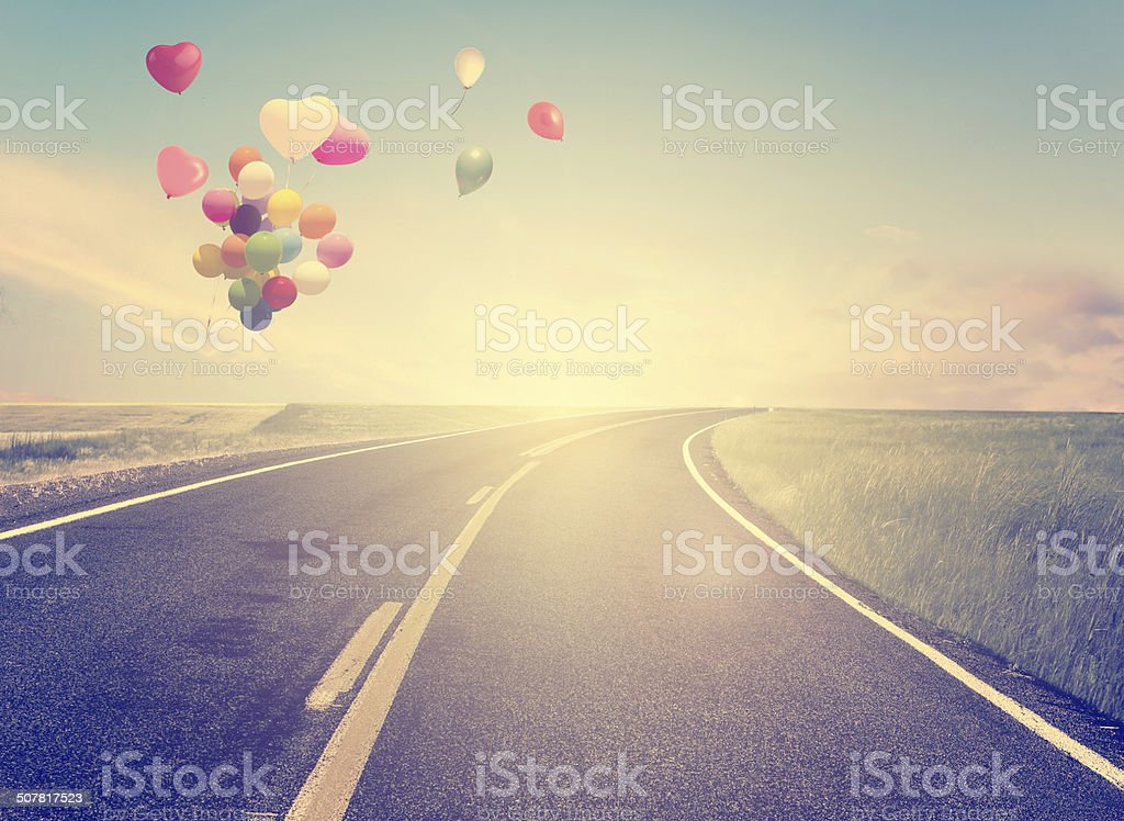 vintage with heart balloon stock photo