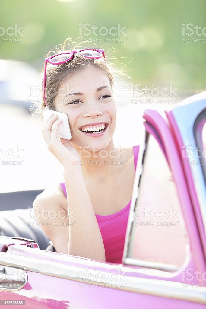 Vintage woman in car stock photo