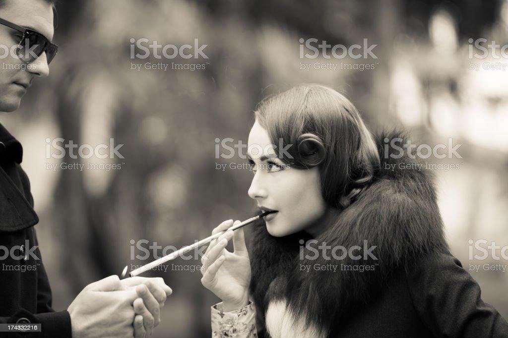 Vintage woman portrait stock photo