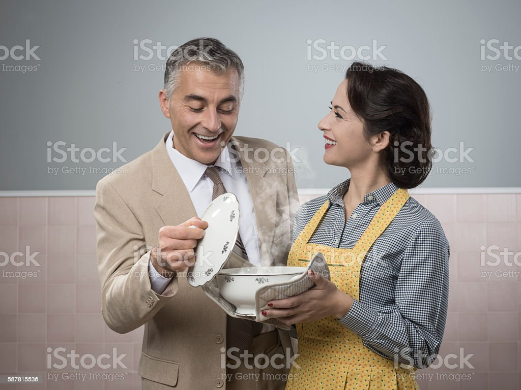 Vintage woman preparing an healthy dinner stock photo