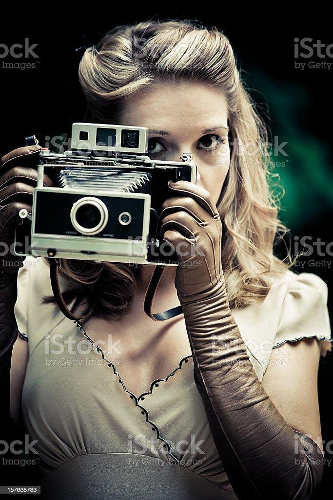 vintage woman retro paparazzi royalty-free stock photo