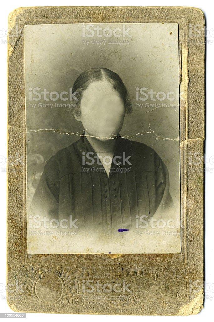 Vintage woman`s photo on white background royalty-free stock photo