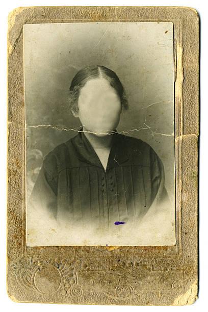 Vintage woman`s photo on white background stock photo