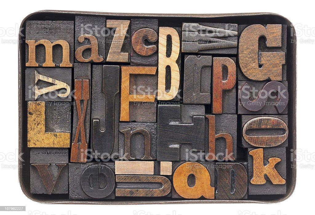 vintage wood alphabet in box royalty-free stock photo