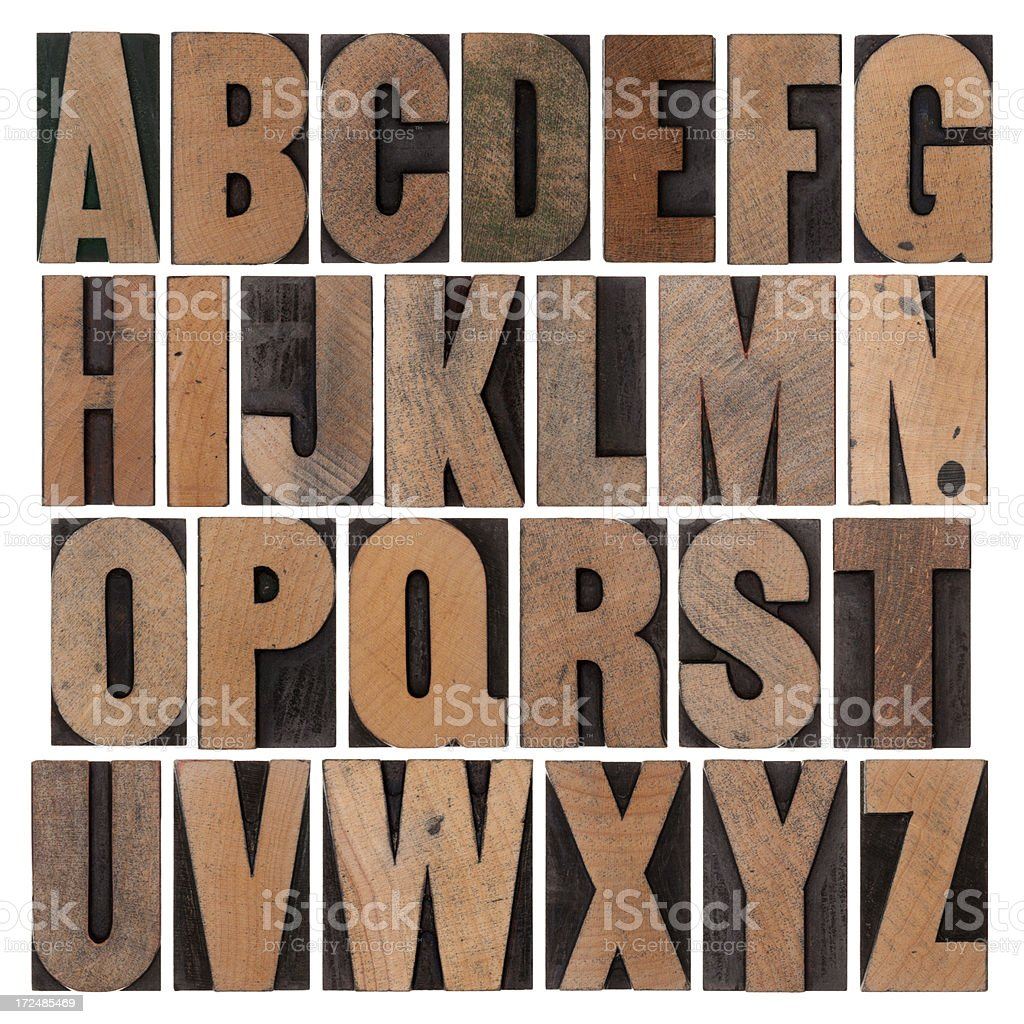 Vintage Wood Alphabet Set royalty-free stock photo