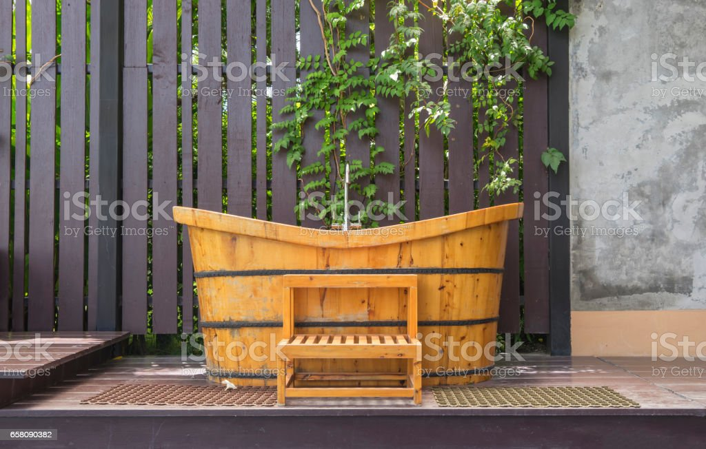vintage wood japanese bathtub outdoor royalty-free stock photo