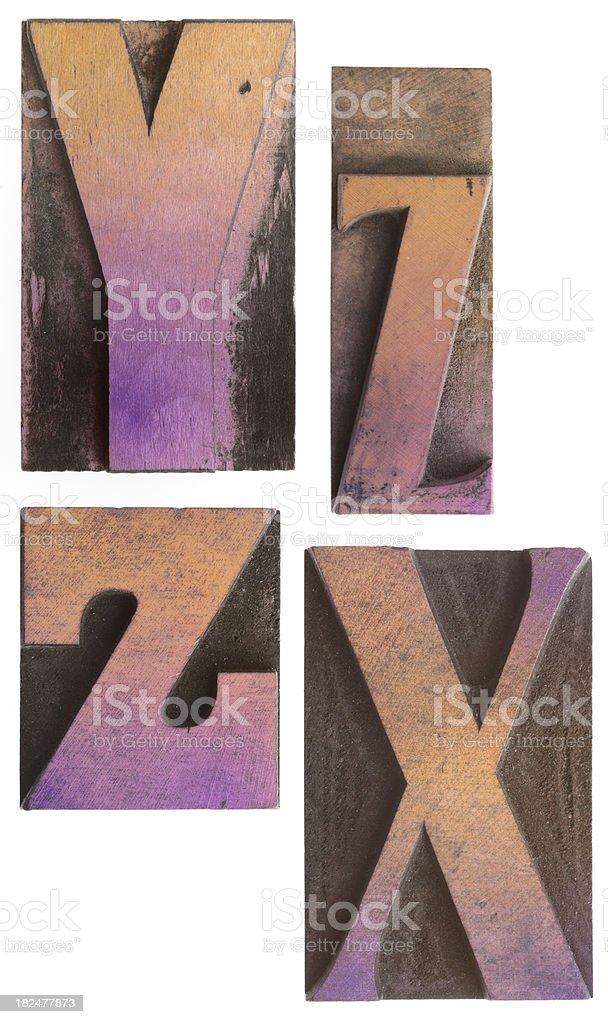 Y X ZZ - Vintage Wood Letterpress Alphabet. royalty-free stock photo