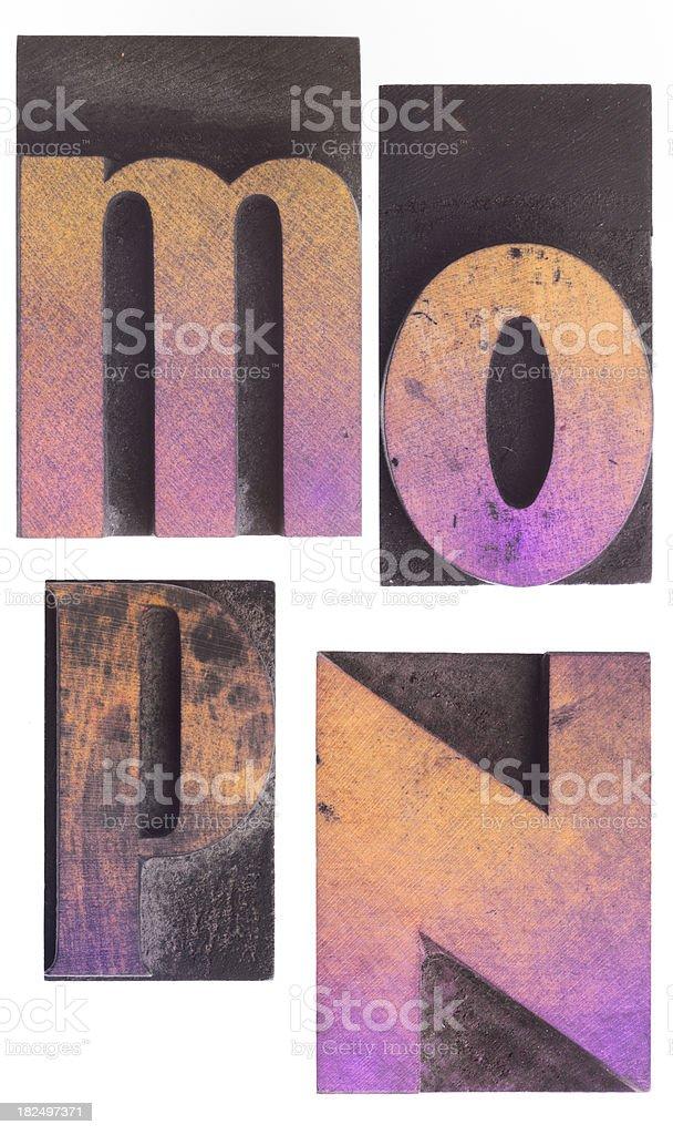 M N O P  - Vintage Wood Letterpress Alphabet. royalty-free stock photo