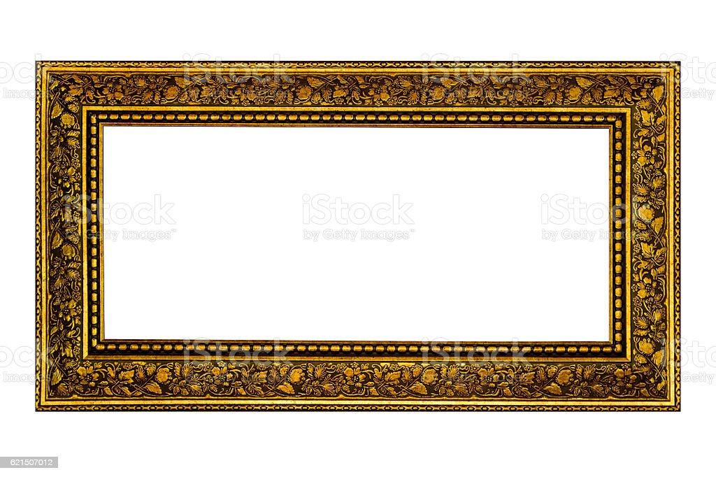 Cadre photo en bois Vintage seul sur fond blanc photo libre de droits