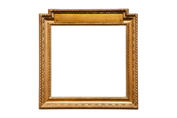 vintage wood picture round frame stock photo