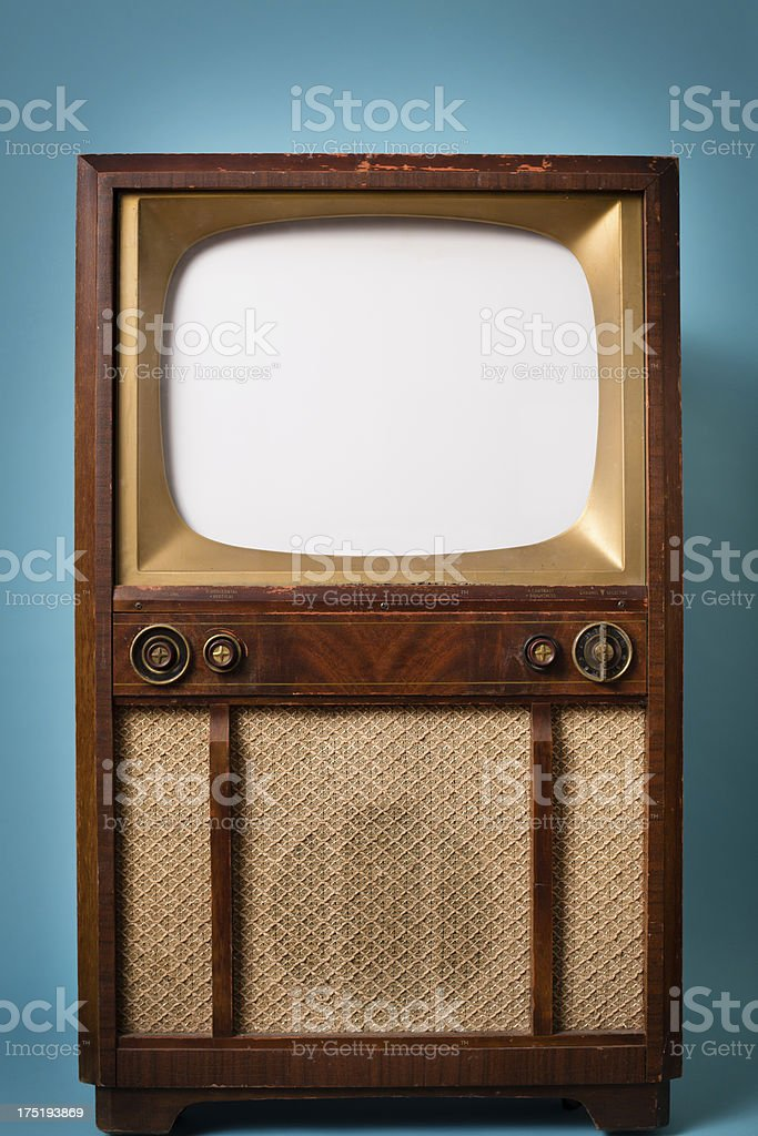 Tv Kast Wit Retro.Vintage Wood Television Cabinet Insert Your Own Ad Stock Photo