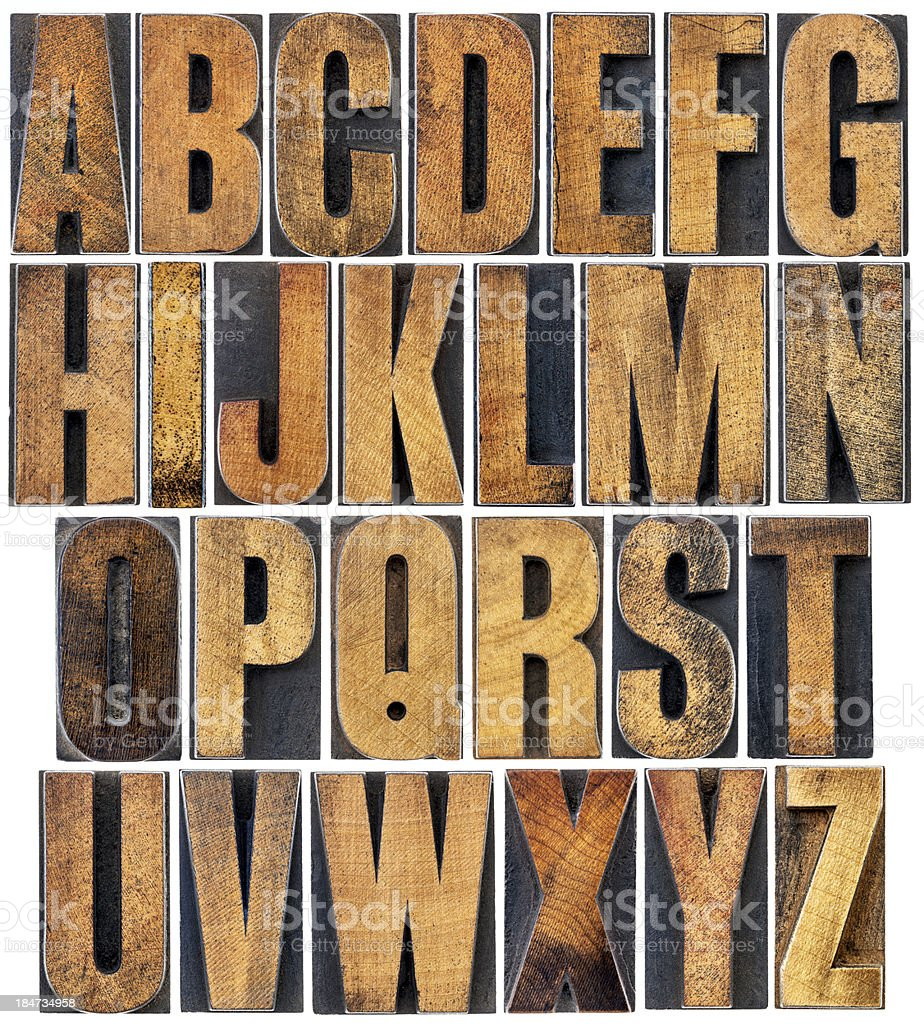 vintage wood type alphabet stock photo