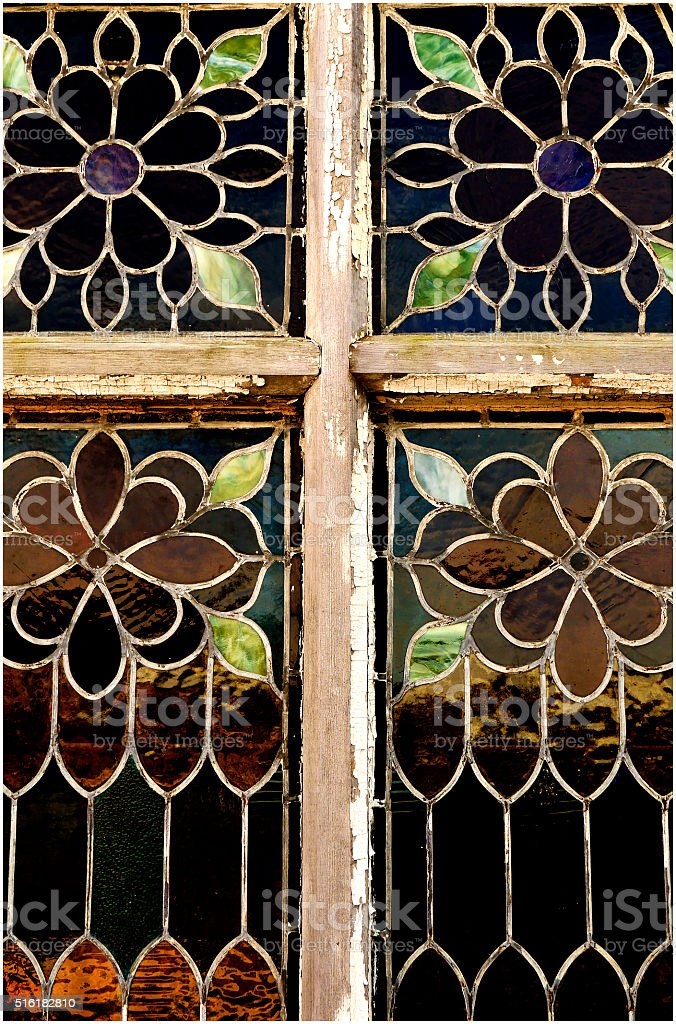 Vintage Wood Window Frame Stained Glass Cross Stock Photo Download Image Now Istock