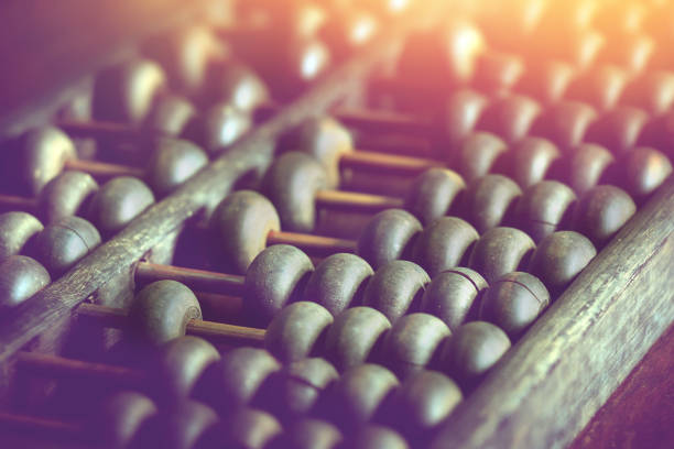 vintage wooden abacus used for calculating. - foto stock